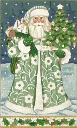 click here to view larger image of Wintergreen Santa (hand painted canvases)