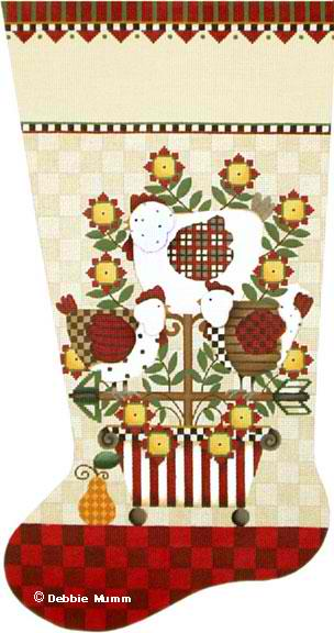 click here to view larger image of French Hens Stocking (hand painted canvases)