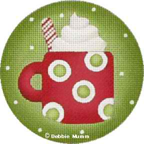 click here to view larger image of Cup of Cocoa Ornament (hand painted canvases)