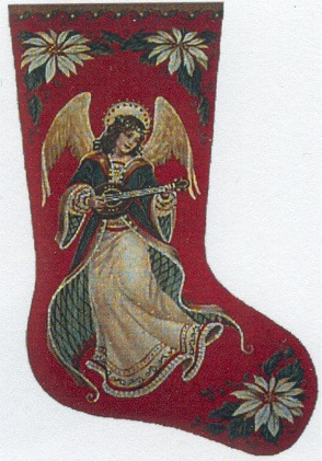 click here to view larger image of Angel & Poinsettia Stocking - 18 mesh (hand painted canvases)