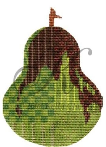 click here to view larger image of Dark Chocolate Drizzle Pear Ornament (hand painted canvases)