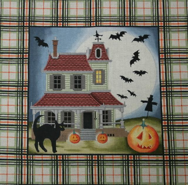 click here to view larger image of Tartan Halloween House (hand painted canvases)