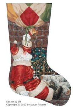 click here to view larger image of Bottom of the Chimney Stocking (hand painted canvases)