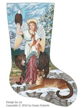 click here to view larger image of Angel and Animals Stocking (hand painted canvases)
