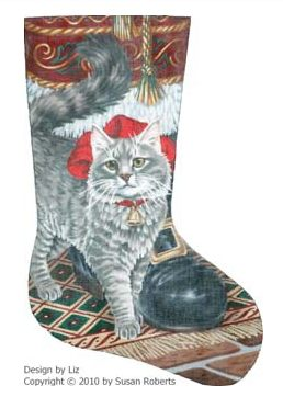 click here to view larger image of Buttons (Kitty) and Santa Stocking (hand painted canvases)