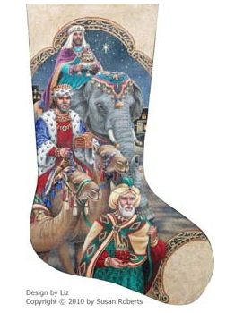 click here to view larger image of Three Kings Stocking (hand painted canvases)