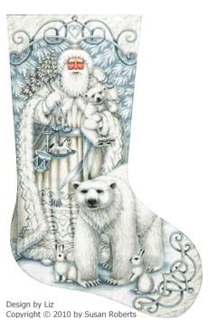 click here to view larger image of Santa & Arctic Friends Stocking (hand painted canvases)