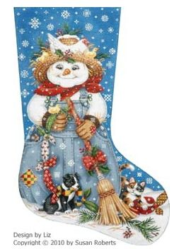 click here to view larger image of Country Snowman Stocking (hand painted canvases)