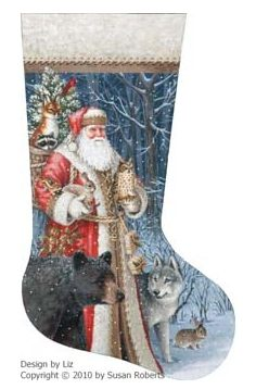 click here to view larger image of Woodland Territorial Stocking - 18ct (hand painted canvases)