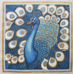 click here to view larger image of Peacock Turquoise Blue and Gold (hand painted canvases)