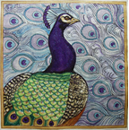 click here to view larger image of Peacock Deep Blue and Green (hand painted canvases)