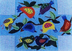 click here to view larger image of Birdies Brick Cover (hand painted canvases)