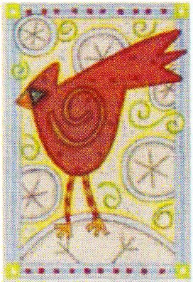 click here to view larger image of Frosty Cardinal (hand painted canvases)