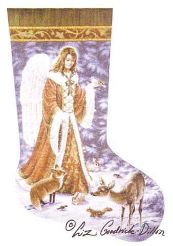 click here to view larger image of Angel and Wildlife Stocking (hand painted canvases)
