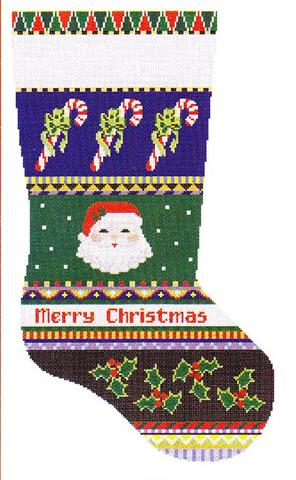 click here to view larger image of Bold Stripe Santa Face and Candy Canes (hand painted canvases)