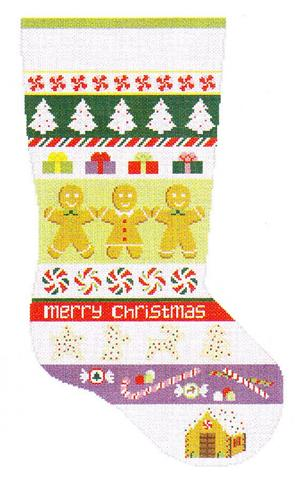 click here to view larger image of Christmas Goodies Stripe Stocking (hand painted canvases)