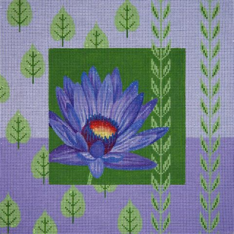 click here to view larger image of Purple Water Lily and Leaves (hand painted canvases)