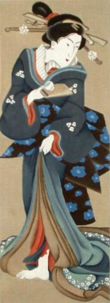 click here to view larger image of Blue Geisha with Teacup - 13 mesh (hand painted canvases)