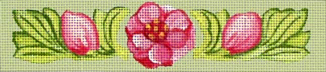 click here to view larger image of Dark Pink Camellia Bracelet (hand painted canvases)