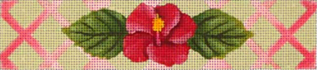 click here to view larger image of Pink Hibiscus Bracelet (hand painted canvases)