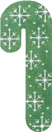 click here to view larger image of Snowflakes Candy Cane - Green (hand painted canvases)