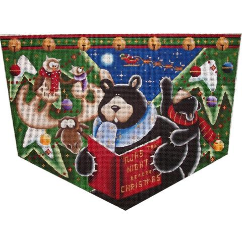 click here to view larger image of Bear's Night Before Christmas Cuff  (18ct) (hand painted canvases)
