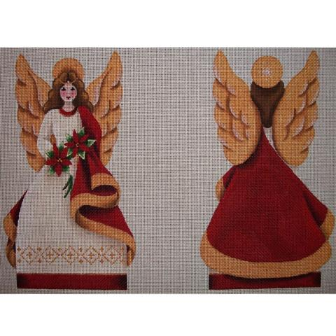 click here to view larger image of Poinsettia Angel Topper - 18 Mesh (hand painted canvases)