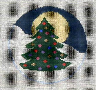 click here to view larger image of Holiday Tree and Moon Ornament (hand painted canvases)
