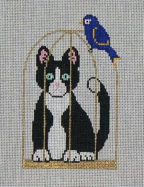 click here to view larger image of Cat Inside Birdcage (hand painted canvases)