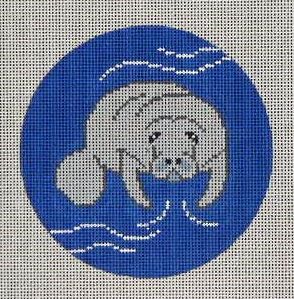 click here to view larger image of Manatee Ornament (hand painted canvases)