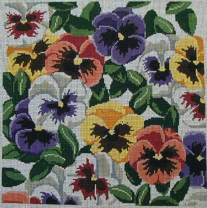 click here to view larger image of Pansies - mixed colours (hand painted canvases)