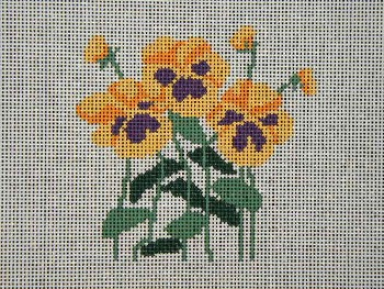 click here to view larger image of Pansies - yellow (hand painted canvases)