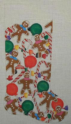 click here to view larger image of Gingerbread Candy Stocking (hand painted canvases)