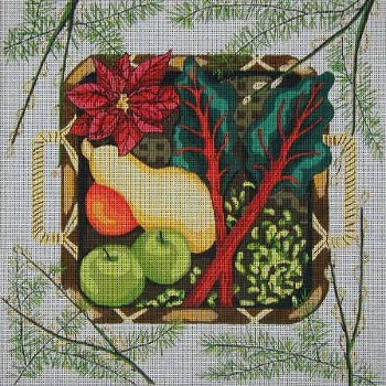 click here to view larger image of Winter Harvest Basket (hand painted canvases)