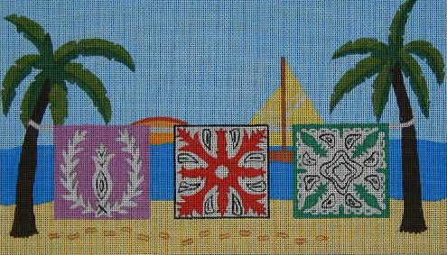click here to view larger image of Hawaiian Hanging Quilts (hand painted canvases)