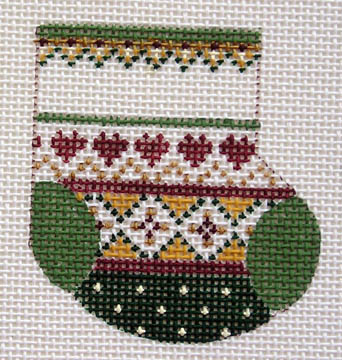 click here to view larger image of 5 Hearts Wee Stocking (18 mesh) (hand painted canvases)