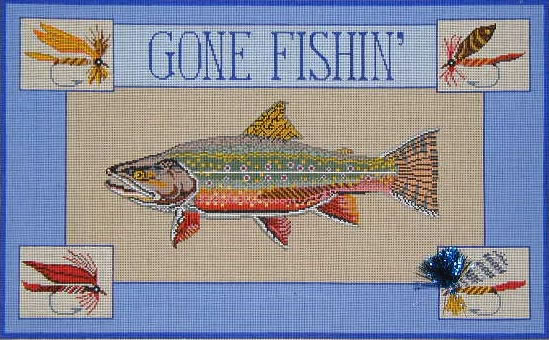 click here to view larger image of Gone Fishin' I (Trout) (hand painted canvases)
