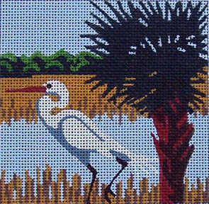 click here to view larger image of Egret (hand painted canvases)