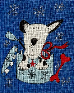 click here to view larger image of Christmas Dog (hand painted canvases)