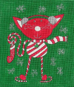 click here to view larger image of Candy Cane Christmas Kitty (hand painted canvases)
