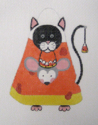 click here to view larger image of Candy Corn Black Cat (hand painted canvases)
