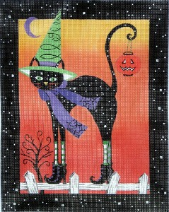 click here to view larger image of Black Cat in Boots (hand painted canvases)