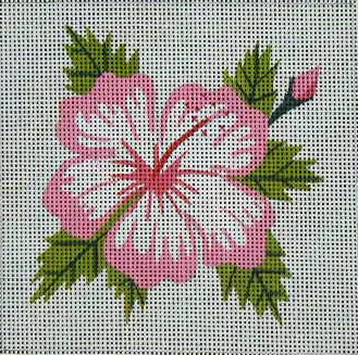 click here to view larger image of Hibiscus with Bud (pink) (hand painted canvases)