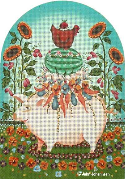 click here to view larger image of Pansy Pig (hand painted canvases)