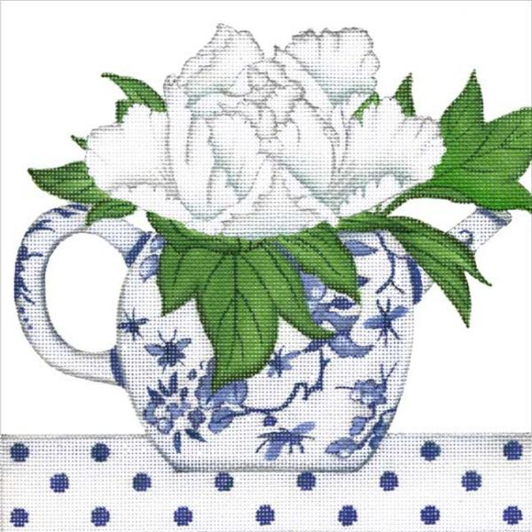 click here to view larger image of Floral Teapot (hand painted canvases)