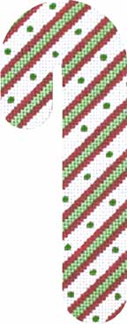 click here to view larger image of Candy Cane - Green Dot (hand painted canvases)