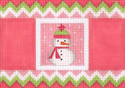 click here to view larger image of Pink Cracker - Snowman (hand painted canvases)