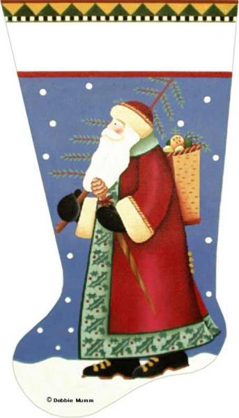 click here to view larger image of Basket Santa Stocking (hand painted canvases)