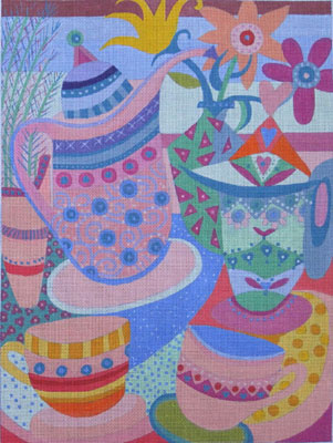 click here to view larger image of Tea Time (hand painted canvases)