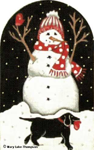 click here to view larger image of Black Lab Snowman (hand painted canvases)